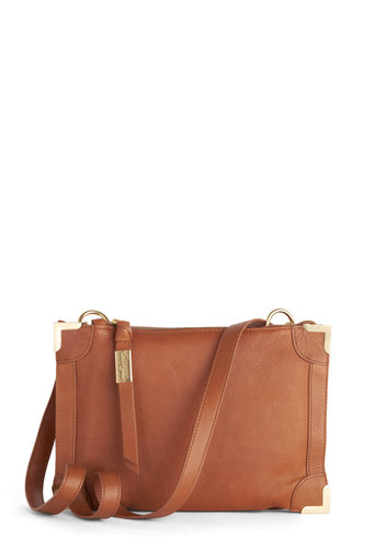 Business Sleek Bag by Foley+Corinna - Leather, Tan, Gold, Solid, Best, Work, Basic