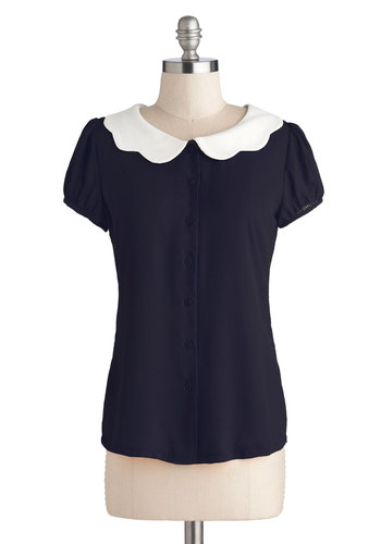Backyard Betty Top in Midnight by Myrtlewood - Chiffon, Sheer, Woven, Exclusives, Private Label, Blue, White, Solid, Buttons, Peter Pan Collar, Scallops, Vintage Inspired, Short Sleeves, Collared, Mid-length
