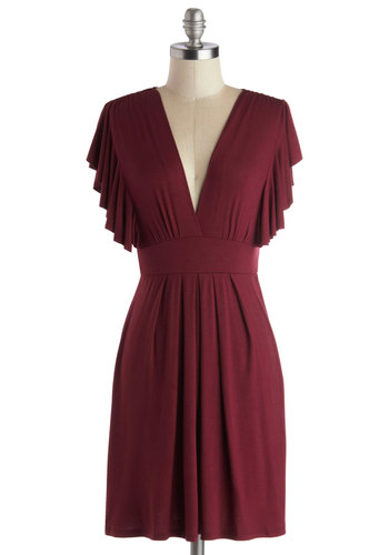 Plum Role Dress - Purple, Solid, Pleats, Casual, Empire, Short Sleeves, Mid-length, Jersey, V Neck, Tis the Season Sale, Basic, Exclusives