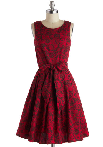 Rows of Roses Dress by People Tree - Cotton, Woven, Long, Red, Black, Floral, Pockets, Cocktail, Tank top (2 thick straps), Better, Scoop, Belted, Party, Eco-Friendly, Fit & Flare