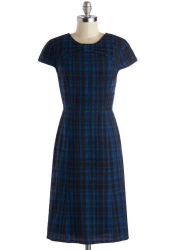 Copy Desk Dress by People Tree - Vintage Inspired, 60s, Scholastic/Collegiate, Long, Cotton, Woven, Blue, Black, Plaid, Bows, Sheath / Shift, Cap Sleeves, Better, Crew, Work, Eco-Friendly