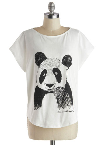 Aw Shoot, How Cute Tee by People Tree - Jersey, Cotton, Knit, Mid-length, White, Black, Print with Animals, Casual, Better, Short Sleeves, Kawaii, Scoop, White, Short Sleeve
