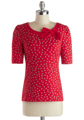 Petit Floret Top in Posies by People Tree - Cotton, Knit, Mid-length, Red, White, Floral, Bows, Work, Short Sleeves, Better, International Designer, Casual, Eco-Friendly, Red, Short Sleeve