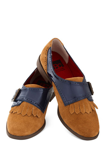 Cool, Calm, and Collegiate Flat by BC Shoes - Tan, Solid, Menswear Inspired, Leather, Suede, Low, Blue, Tassles, Scholastic/Collegiate, Buckles, Better