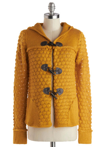 Days of Marigold Cardigan - Yellow, Brown, Knitted, Casual, Long Sleeve, Knit, Mid-length, Faux Leather, Pockets, Vintage Inspired, Scholastic/Collegiate, Hoodie, Fall, Folk Art