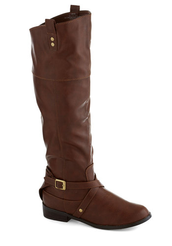 Ask Me Equestrian Boot in Brown by Restricted - Solid, Flat, Buckles, Faux Leather, Better, Brown, Casual, Scholastic/Collegiate