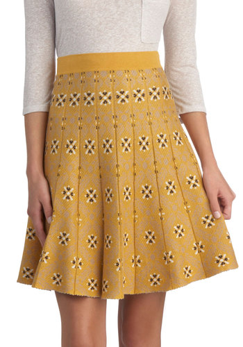 Up, Up and Chalet Skirt by Nick & Mo - Knit, Mid-length, Yellow, A-line, Better, Vintage Inspired, 70s, Scholastic/Collegiate, Print, Folk Art