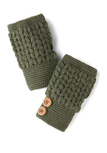 Stage Door Glovettes in Sage by Tulle Clothing - Green, Tan / Cream, Solid, Buttons, Fall, Winter, Knit, Knitted, Casual, Variation, Folk Art