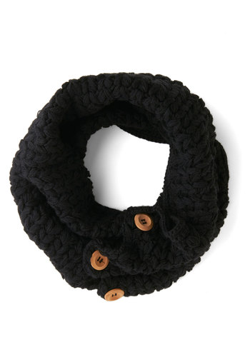 Stage Door Circle Scarf in Black by Tulle Clothing - Black, Tan / Cream, Solid, Buttons, Fall, Winter, Knit, Knitted, Variation