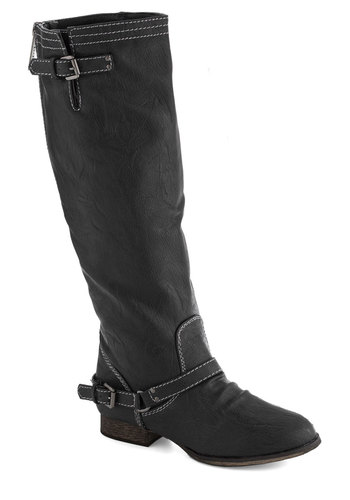 River Walk Boot in Black - Low, Faux Leather, Black, Buckles, Good, Solid, Casual, Fall, Variation