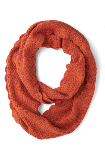 Seasonal Brew Circle Scarf by Tulle Clothing - Orange, Solid, Scallops, Fall, Winter, Knit, Minimal