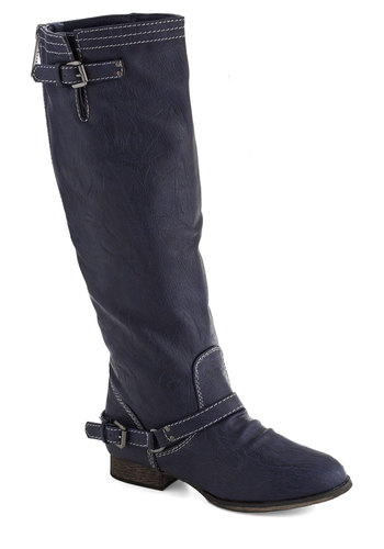 River Walk Boot in Blue - Low, Faux Leather, Blue, Buckles, Good, Solid, Casual, Fall, Variation