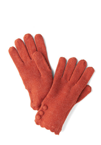 Root Veggie Gloves in Carrot by Tulle Clothing - Orange, Solid, Buttons, Scallops, Fall, Winter, Knit, Knitted, Variation