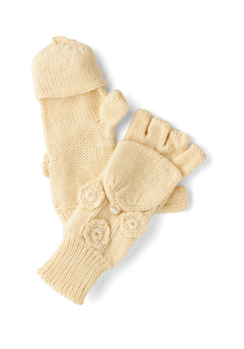 For the Chill of It Convertible Gloves in Cream by Tulle Clothing - Cream, Solid, Flower, Fall, Winter, Knit, Casual, Folk Art