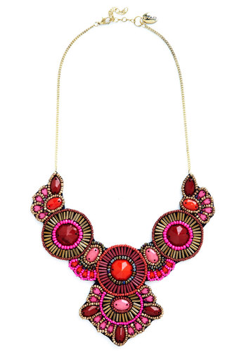 Medallion Marvel Necklace in Pink - Red, Pink, Bronze, Gold, Solid, Beads, Formal, Statement, Better, Variation