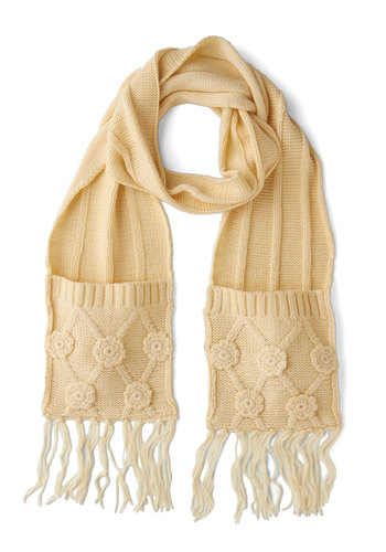 For the Chill of It Scarf in Cream by Tulle Clothing - Cream, Solid, Flower, Fringed, Fall, Winter, Knit, Pockets, Casual