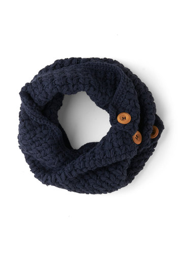 Stage Door Circle Scarf in Indigo by Tulle Clothing - Blue, Tan / Cream, Solid, Buttons, Fall, Winter, Knit, Knitted, Variation