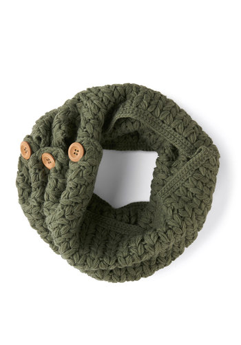 Stage Door Circle Scarf in Sage by Tulle Clothing - Green, Tan / Cream, Solid, Buttons, Fall, Winter, Knit, Knitted, Variation
