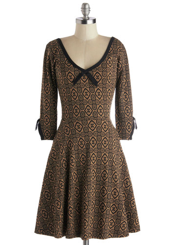 Meet and Treat Dress by Effie's Heart - Knit, Exclusives, Tan, Black, Print, A-line, 3/4 Sleeve, Better, V Neck, Pockets, Casual, Cotton, Folk Art