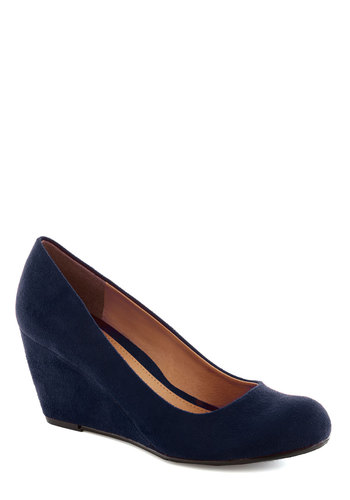 Find Your Feat Wedge in Indigo - Blue, Solid, Work, Graduation, Wedge, Mid, Good, Daytime Party, Minimal, Faux Leather, Variation, Basic, Top Rated