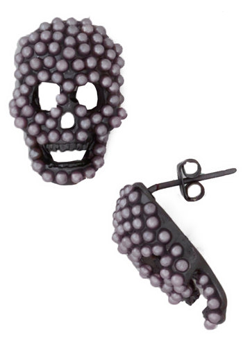 Skull it a Day Earrings - Pink, Black, Solid, Pearls, Halloween