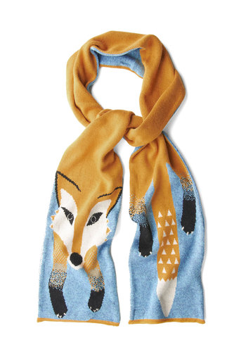 Outfox the Eye Scarf by Yumi - Print with Animals, Best, Multi, Orange, Blue, Casual, Top Rated, Winter