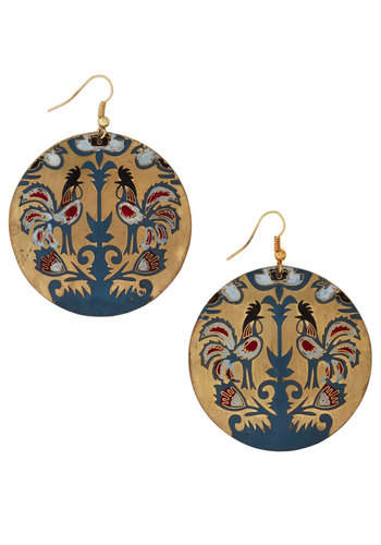 Best of Cluck Earrings by Mata Traders - Red, Gold, Print with Animals, Multi, Blue, Gold