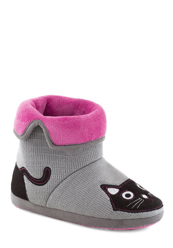 Plush 'n' Boots Slippers - Grey, Multi, Print with Animals, Casual, Kawaii, Flat, Good, Knit, Cats, Winter, Halloween