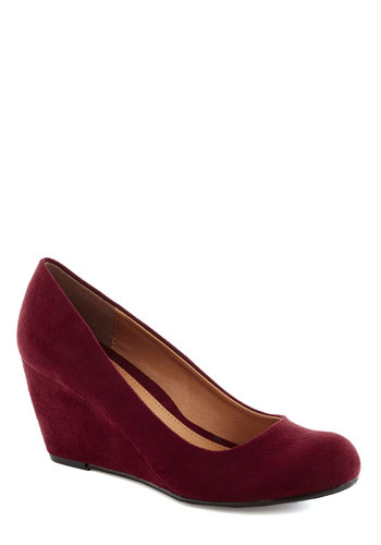 Find Your Feat Wedge in Merlot - Red, Solid, Work, Graduation, Wedge, Mid, Good, Daytime Party, Minimal, Faux Leather, Variation, Basic