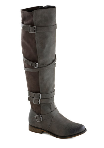 Dancing in the High Street Boot - Grey, Solid, Buckles, Steampunk, Better, Low, Faux Leather, Fall, Over the Knee, Military
