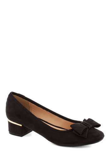 Can You Bow-lieve It Heel - Black, Gold, Bows, Work, Low, Good, Solid