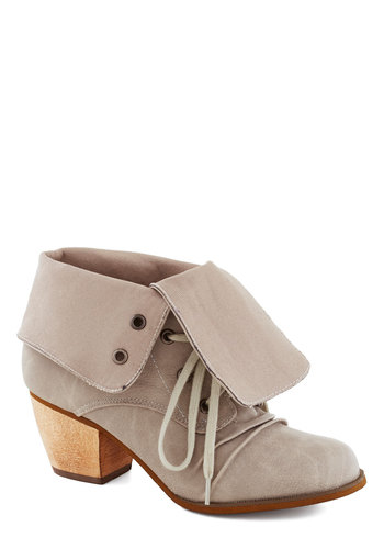 For Fold Time's Sake Bootie - Mid, Faux Leather, Tan, Solid, Better, Lace Up