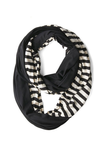 Peek of Pattern Circle Scarf Set in Black Stripes - Black, White, Solid, Stripes, Good, Cotton, Variation, Fall, Winter