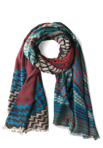 Color Coordinated Scarf - Blue, Multi, Chevron, Good, Woven