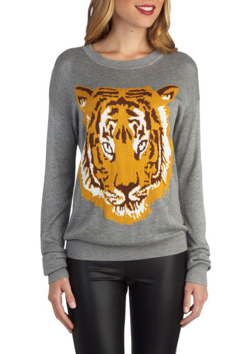 Roars and Stripes Sweater - Mid-length, Knit, Grey, Orange, Print with Animals, Casual, Long Sleeve, Novelty Print, Grey, Long Sleeve