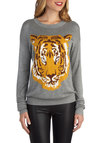 Roars and Stripes Sweater - Mid-length, Knit, Grey, Orange, Print with Animals, Casual, Long Sleeve, Novelty Print, Grey, Long Sleeve, Top Rated