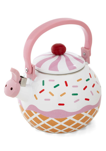 Care for a Cupcake? Tea Kettle - Multi, Quirky, Better, Pink, Tan / Cream, White, Gals, Hostess