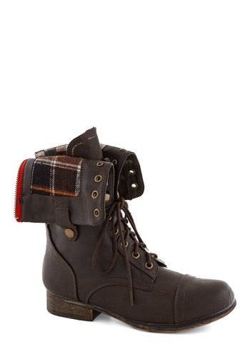 Fold Favorite Boot in Plaid - Brown, Multi, Plaid, Faux Leather, Lace Up, Low, Good, 90s, Fall, Folk Art