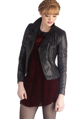 The Wheel Thing Leather Jacket by Steve Madden - Short, Leather, 2, Black, Solid, Pockets, Urban, Long Sleeve, Fall, Black