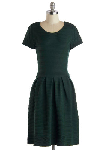 Campus Superstar Dress - Knit, Woven, Green, Solid, Pleats, A-line, Short Sleeves, Better, Scoop, Mid-length, Work, Casual, Minimal, Sweater Dress