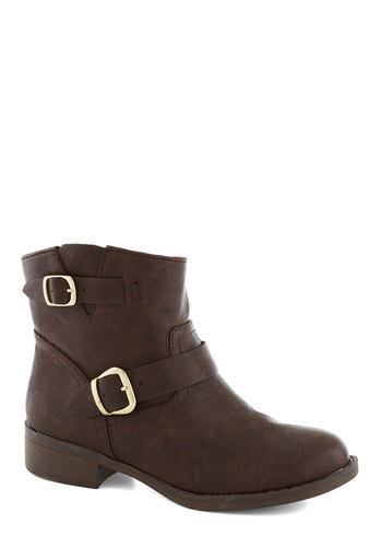 Out to Luncheon Bootie in Brown - Low, Faux Leather, Brown, Solid, Buckles, Better, Casual, Variation, Military