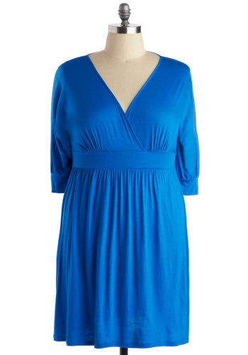 Set the World on Sapphire Dress in Plus Size - Blue, Solid, Casual, Empire, 3/4 Sleeve, V Neck, Minimal, Jersey