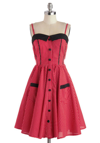 Stopping the Show Dress - Show On Featured Sale, Rockabilly, Pinup, Mid-length, Red, Black, White, Polka Dots, Buttons, Pockets, Fit & Flare, Cotton, Best Seller, Strapless, Sweetheart, Gifts Sale