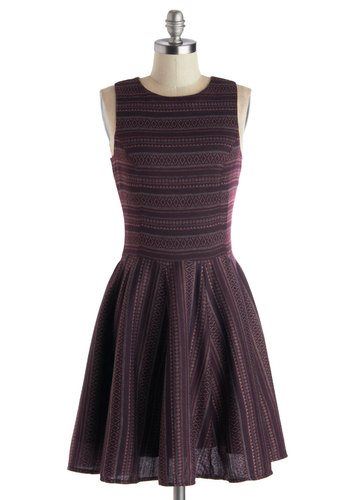 Nature Center Celebration Dress - Mid-length, Woven, Purple, Multi, Print, Party, A-line, Better, Fit & Flare, Crew