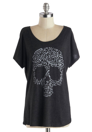 After Skull Musical Top - Black, Novelty Print, Short Sleeves, Better, Mid-length, Jersey, Knit, Casual, Halloween, Music, Scoop, Black, Short Sleeve