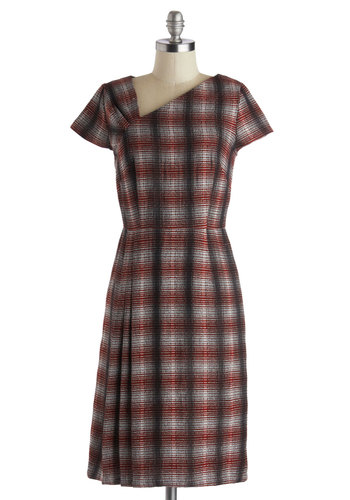 Natural Translator Dress by People Tree - Scholastic/Collegiate, Long, Cotton, Woven, Red, Grey, Plaid, Work, Shift, Better, Eco-Friendly, Short Sleeves