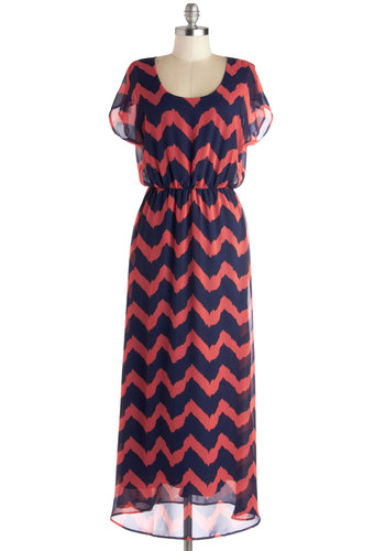 Miracle Maxi Dress in Coral and Navy - Long, Woven, Blue, Chevron, Casual, Maxi, Good, Scoop, Coral, Short Sleeves, Variation, Top Rated