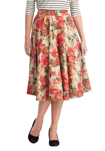 Twirling Through Town Skirt in Blossom by Emily and Fin - Exclusives, Long, Cotton, Woven, Floral, Daytime Party, Better, Pleats, Vintage Inspired, Cream, Ballerina / Tutu, White