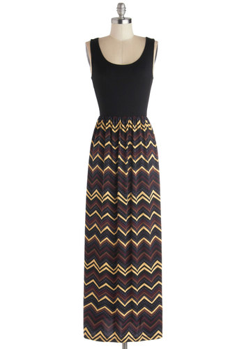 Party on the Patio Dress - Long, Knit, Black, Multi, Chevron, Casual, Maxi, Tank top (2 thick straps), Good, Scoop, Twofer