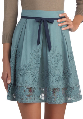 A La Food Carte Skirt - Blue, Solid, Bows, Embroidery, A-line, Good, Short, Cotton, Woven, Casual, Blue